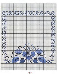 Cross stitch border, corner, frame, rectangular , square, blue flower, filigree #8 - Вышивание простым крестом - simplehard