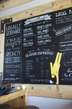 chalkboard coffee menu. coffee shop walnut creek menu. handpainted. designed and painted by bee curious designs on etsy. slayer espresso. stumptown. kaldi's. cafe grumpy. four barrel. bard coffee. george howell cold brew coffeeimage