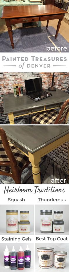 This pine desk makeover turned out gorgeous! I used Heirloom Tradition's Squash and Thunderous  chalk-type paints and sealed it with Clear Soft Wax. I top stained with Aurora Staining Gels in: Concrete Jungle, Black, Snow White, Brown Derby and Rust. Best Top Coat sealed the top. I also used 1 Gel to decoupage the drawers. Use my coupon code PAINTEDTREASURES to save 10% off these products. | Painted Treasures Denver | Furniture Makeover & Furniture Painting Ideas | Paint Color Ideas | Office