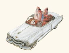 After just one fishing trip Jerry's new by viviennestrauss on Etsy (Art & Collectibles, Prints, Giclee, Vivienne Strauss, owls, earless owls, cadillac, white convertible, traveling in style, white car, bird art, fish, fishing trip, fine art print, mixed media collage)