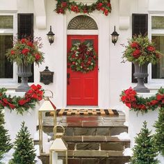 Decorate your indoor and outdoor space in verdant style with Christmas wreaths and garlands from Frontgate. Shop individual pieces and sets for effortless holiday decor. Christmas Garden, Christmas Porch, Christmas Is Coming, Christmas Ideas, Christmas Entryway, Christmas Poinsettia, Christmas 2014, Winter Holiday, White Christmas