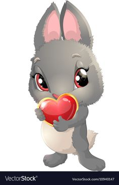 Cute rabbit cartoon vector image on VectorStock Cow Cartoon Images, Free Vector Images, Vector Free, Baby Animal Drawings, Spring Art, Cute Bunny, Cute Baby Animals, Pet Birds, Cute Art