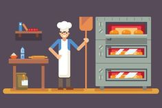Cook baker cooking bread icon on bak Graphics Cook baker cooking bread icon on bakery background flat design vector illustration100 vector!E by Meilun