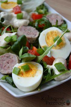 Sałatka z białą kiełbasą i jajkami Panna Cotta, Eggs, Breakfast, Ethnic Recipes, Food, Easter, Morning Coffee, Dulce De Leche, Essen