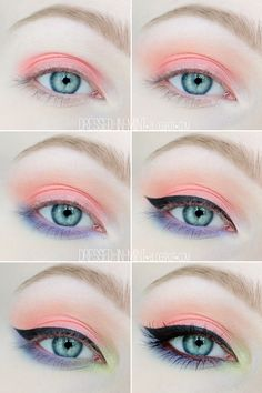 Lid: On the Rocks Crease: Sunset Strip Feel Euphoric Lower lid: Opening Party Poolside Inner corner: Balearic Beat Trait Eye Liner, Pretty Makeup, Cute Doll Makeup, Easy Makeup Looks, Weird Makeup, Clean Makeup, Pastel Goth Palette, Pastel Goth Makeup, Mint Makeup