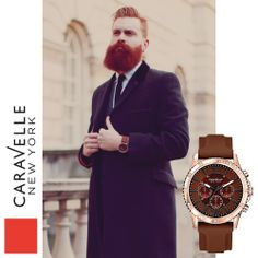 Ty is wearing our Rose & Mocha 44A102 watch. #LFW #Caravelle #Fashion #Menswear #StreetStyle
