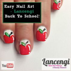 ▶ Easy Nail Art Designs For Beginners #6 - Back to School DIY Apples - Perfect for #shortnails tutorial!