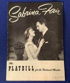 Vtg Program Playbill National Theatre Sabrina Fair NYC 1950s Ads | eBay