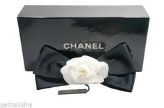 CHANEL Desinger White Camellia Black Satin Bow Hair Clip Barrette NEW. Get the lowest price on CHANEL Desinger White Camellia Black Satin Bow Hair Clip Barrette NEW and other fabulous designer clothing and accessories! Shop Tradesy now