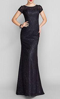 Trumpet/Mermaid Scoop Sweep/Brush Train Lace Evening Dress