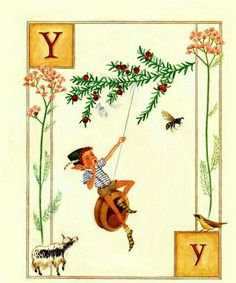 Y is for Yo-yo Elf youthfully yodeling.  Lauren Mills, Elfabet.