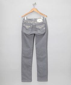 Take a look at this Slate Gray Embellished Flap Pocket Skinny Jeans by Miss Me on #zulily today!