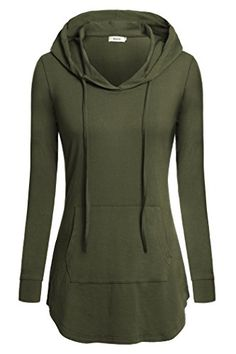8acb4e82e7216 Women TopsBepei Shirts With Hood Long Sleeves Round Neck Tunic Blouse Green  2XL ** Find