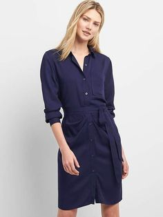 1a2adc1b734 Gap Womens Long Sleeve Shirtdress With Ruching - Xxl Regular
