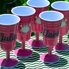 Monogram Melamine Wine Cups - What's better by the pool? http://www.monogramlane.com/Hot_Pink_Melamine_Wine_Cup_p/rl-wn-hp.htm