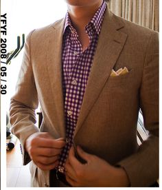 Brown linen suit and red gingham