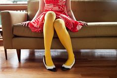 colored tights with A+ shoes Yellow Tights, Colored Tights, Navy Blue Dresses, Nice Dresses, Red And White Dress, Indie Girl, Mellow Yellow, Color Yellow, Colour