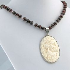 Cameo Garnet Moonstone Pendant Necklace by RivendellRockJewelry