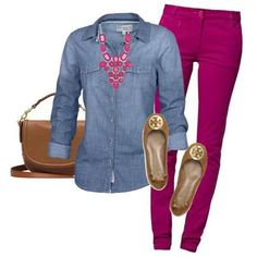 FAVORITE!  YES to clothes only; love chambray tops! These colored jeans are super cute too.