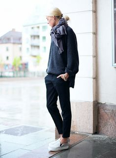 How to Look Put-Together in a Sweater via @WhoWhatWear- Grays put together so well!
