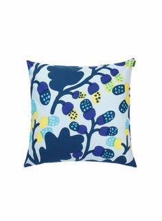Pähkinäpuu-tyynynpäällinen (sininen, keltainen, turkoosi) |Sisustustuotteet, Olohuone, Sisustustyynyt ja tyynynpäälliset | Marimekko