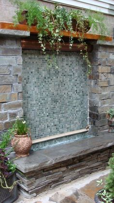 diy wall fountain - get domain pictures Indoor Waterfall Fountain, Water Wall Fountain, Outdoor Wall Fountains, Garden Water Fountains, Garden Waterfall, Indoor Fountain, Outdoor Walls, Wall Waterfall, Fountain Ideas