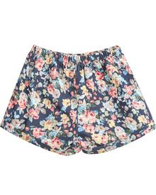Blue Elastic Waist Floral Loose Shorts