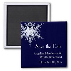 blue winter wedding save the date magnet