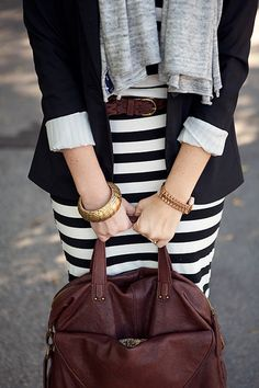 Striped skirt or dress, belt, grey scarf and black blazer