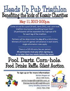 Heads Up Pub Triathlon- pool, darts, & cornhole tournament benefiting Kosair Kids® on 5.11.13