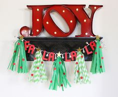 Tissue Tree Garland by Kimberly Crawford featuring the DIY Party Fringe and Score Board, Light Strand, and Mini Alphabet Punch Board.