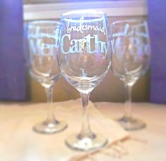 Hey, I found this really awesome Etsy listing at https://www.etsy.com/listing/187624257/set-of-3-bridesmaid-wine-glasses-with