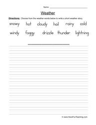 create a weather story Weather Vocabulary, Weather Words, Weather Worksheets, Science Worksheets, Have Fun Teaching, Earth Science, Second Grade, Core