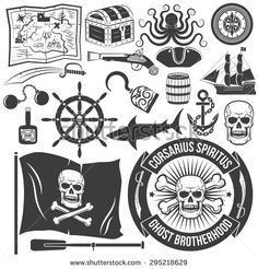 Set to create a logo of a pirate-style tattoos. Pirate emblem. The skull, map, chest, octopus, compass, tricorn,  pistol, pirate ship, shark, anchor, hook, keg, bottle.
