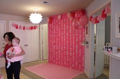 Love this idea: have a backdrop for photos as part of the party decorations.