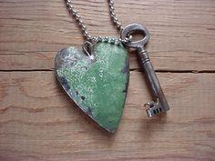 tin heart & key necklace