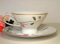 Vintage Rosenthal teacup and saucer set by Raymond Loewy Japanese Quince pink gray floral footed 2 sets available EXCELLENT