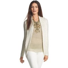 Chico's Sequin Shine Claytia Cocoon Cardigan found on Polyvore featuring polyvore, fashion, clothing, tops, cardigans, ecru, round top, sequin top, cardigan top and sequin cardigan