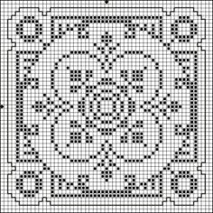 Square 04 | Free chart for cross-stitch, filet crochet | Chart for pattern - Gráfico