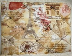 French Paris in Spring Sepia Collage Noticeboard, Padded Notice Board, Memo Board, Pin Board https://www.etsy.com/uk/listing/203616155/french-paris-in-spring-sepia-collage?