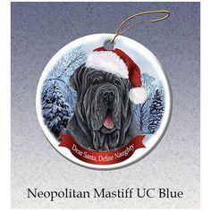 Mastiff Neopolitan Blue Howliday Dog Christmas Ornament