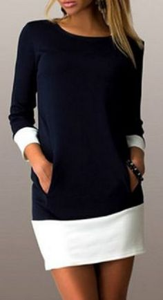 Casual Navy and White Color Block Scoop Neck Long Sleeve Mini Dress