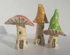Handmade Clay Fairy Mushroom House Miniatures www.thelittlecottageartco.co.uk