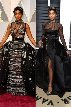 JANELLE MONAE changes for theVanity Fairafterpartyfrom her Elie Saab Haute Couture ballgown into a funky Alexandre Vauthier Haute Couture ballgown with a long grommet-studded belt and mesh panels, Christian Louboutin heels and Jimmy Choo clutch,and adds a different headbandbyJennifer Behr.
