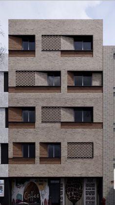 Architecture Building Design, Brick Architecture, Building Facade, Residential Architecture, Brick Design, Facade Design, Exterior Design, Romanesque Architecture, Commercial Architecture