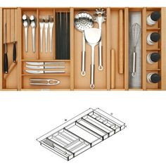 OPPEIN Solid Wood Knife & Fork Divider Divided Rectangle Storage Box Bins Cutlery Tray Bamboo Drawer Forks Knife Spoon Storage