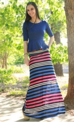Shayla - Womens modest long striped flared maxi skirt red white and blue