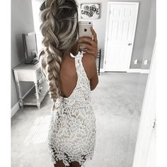 white lace, braids and a good tan