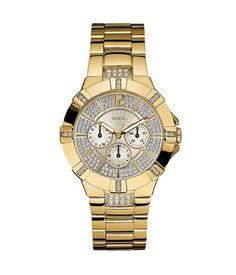 women watches Best Gold watches for women GUESS Women's Dazzling Sporty Gold-Tone Watch