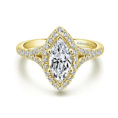 Verbena 14k Yellow Gold Marquise  Halo Engagement Ring angle 1
